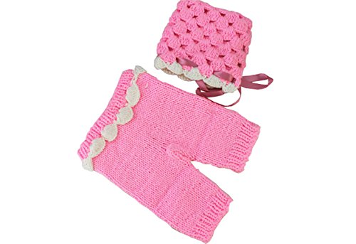 MG House Newborn Baby Photo Photography Prop Handmade Crochet Knitted Cute Pink Cap Outfit+Soft Bib