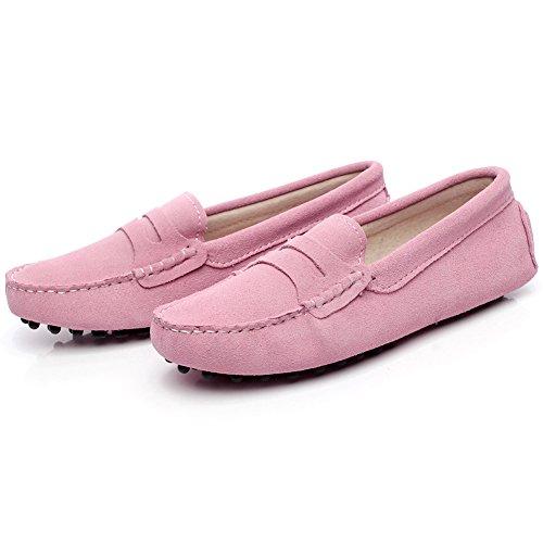 Rismart Mujeres Ante Cuero Moda Mocasines Ponerse Casual Pisos Zapatos Rosa