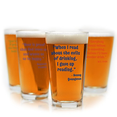 Funny Beer Quote Pint Glasses - Set of 4