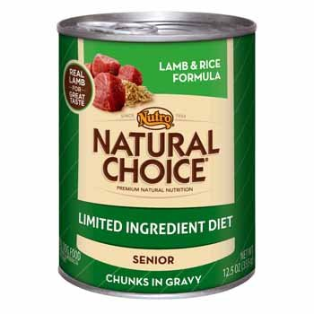 Nutro Natural Choice Limited Ingredient Diet Lamb & Rice Senior Canned Dog Food, 12.5 oz, Case of 12