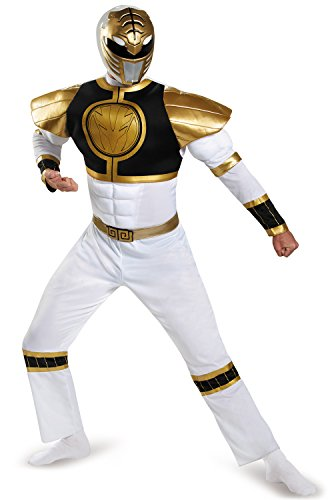 (Disguise Mighty Morphin Power Rangers: White Ranger Muscle Costume for Adults -)