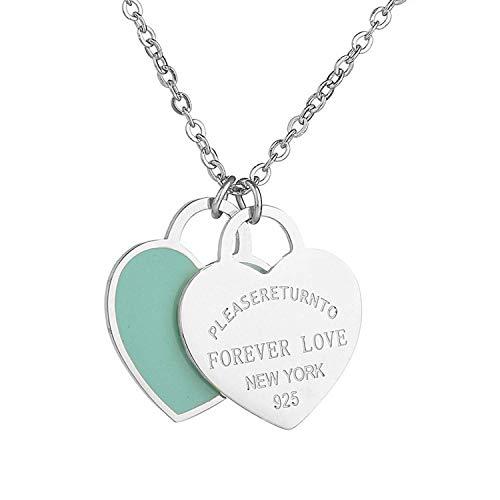- Designer Inspired Silver Titanium Steel Forever Love Double Heart Pendant (Blue Enamel)