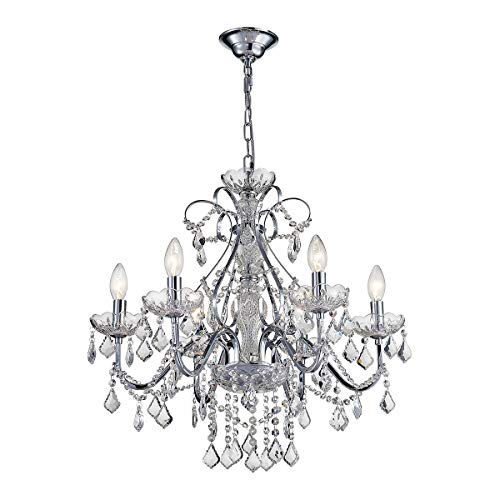 - ANJIADENGSHI Modern Traditional Crystal Chandelier 6 E12 Bulbs with Adjustable Hanging Height for Dining Living Room Foyer Office, Chrome