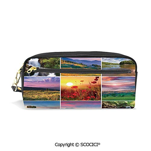 Fasion Pencil Case Big Capacity Pencil Bag Makeup Pen Pouch Summer Landscapes Waterfall Blooming Flowers Purple Sunshine Natural Paradise Durable Students Stationery Pen Holder for School