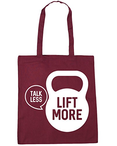 HippoWarehouse Talk less lift more Tote Compras Bolsa de playa 42 cm x38 cm, 10 litros granate