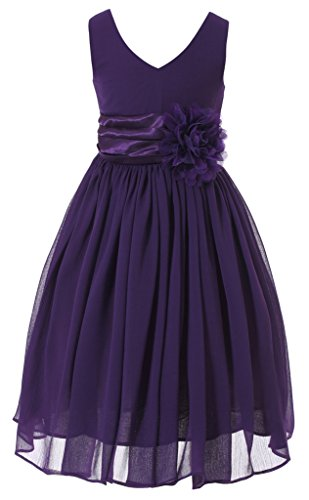 Bow Dream Flower Girl Dress Junior Bridesmaids V-Neckline Chiffon Purple 10