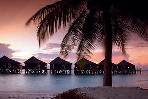 Your Space UK Tom Mackie Water Villas Maldives Sunset Art Print With Frame Options Or Canvas - Framed Print Seattle Frame - Gold - 60cm X 80cm