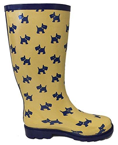 G4u Dames Regenlaarzen Meerdere Stijlen Kleur Middenkuit Wellies Gesp Mode Rubber Kniehoge Sneeuwschoenen Geel / Puppies