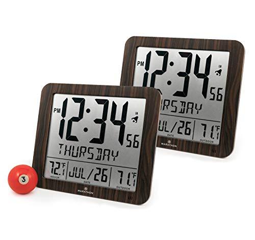 Marathon CL030027-FD-WD Slim Atomic Wall Clock Bundle -  Woo