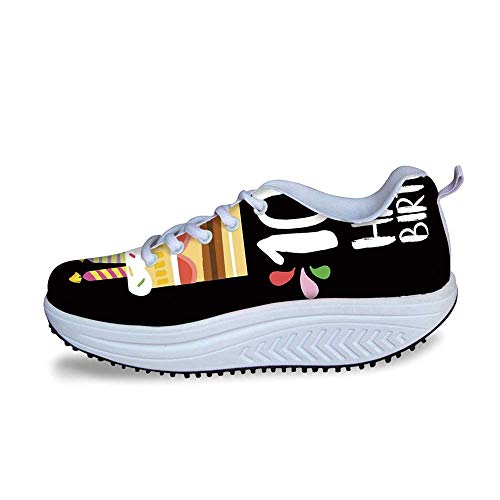 YOLIYANA 100th Birthday Decorations Cool Shake Shoes,Old Legacy 100 Birthday Party Cake Candles on Black Backdrop for Women,US Size5