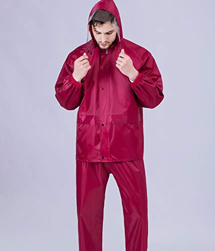 MQYYT Suit Raincoat, Oxford Adult Outdoor Split Raincoat Male Female Electric Car Motorcycle Raincoat Rain Pants Suit Black Out Riding Cycling Waterproof Wine Red (Color : Wine red, Size : XXXXL) ()