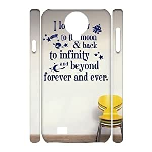 wugdiy Customized Cell Phone 3D Case Cover for SamSung Galaxy S4 I9500 with DIY Design I love you to the moon and back