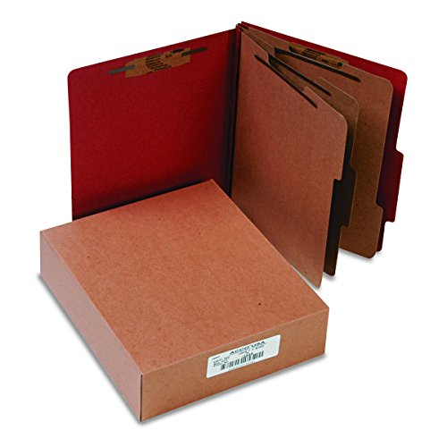 Sectioned Top Tab Classification Folders - ACCO 15038 ACCO Pressboard 20-Point Classification Folder, Ltr, 6-Section, Earth Red, 10/Bx