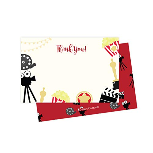 Movies Thank You Cards (25 Count) With Envelopes and Seal Stickers Bulk Birthday Party Bridal Blank Graduation Kids Children Boy Girl Baby Shower -