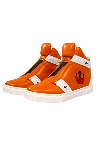 Musterbrand Star Wars Sneakers Unisex Skywalker X-Wing High-Top Flap Closure Rebel Pilot Design Arancia