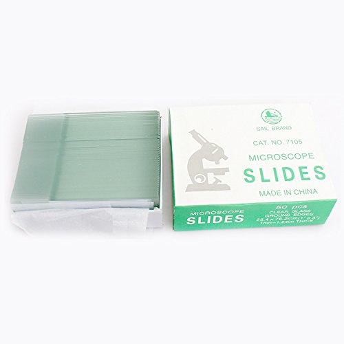 50 Microscope Slides Glass Slides with 1/3 Ground Glass, Grinding Edge Burry Life Science