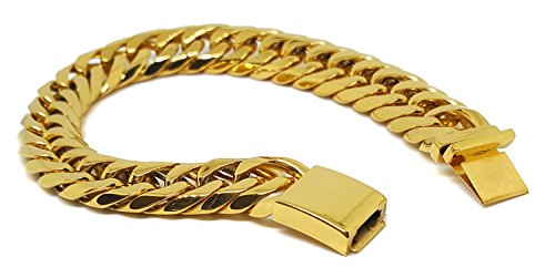 - Gold Layered Over 316L Stainless Steel Thick 14mm Cuban Link Bracelet. 8 inches.