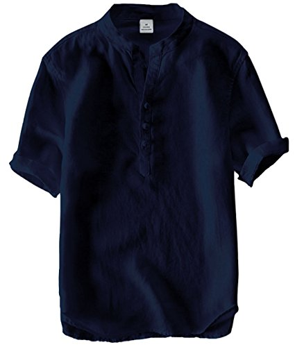 utcoco Men's Vintage Round Collar Chinese Style Henley Shirts Short Sleeve Tops (X-Small, Navy)