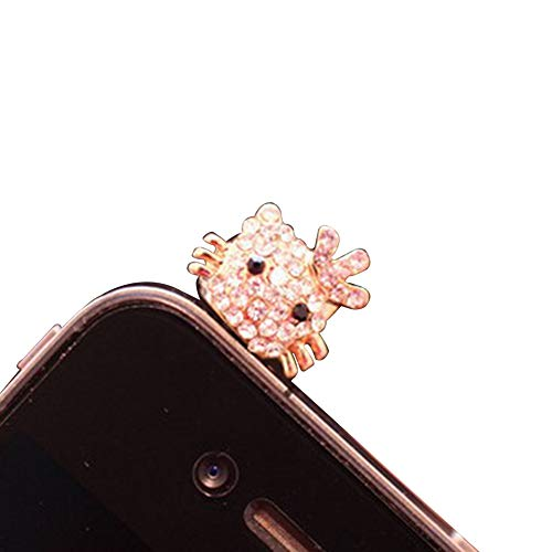 (Mobile Phone Dust Plug - Headphone Jack Accessories Crystal Crown Cat Earbuds for All 3.5mm Earplugs )