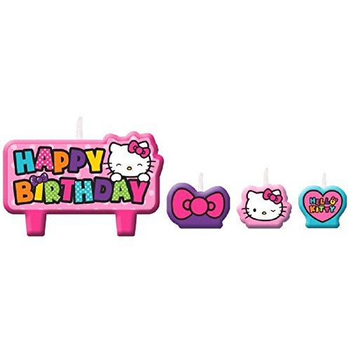 Happy Birthday Hello Kitty - Adorable Hello Kitty Rainbow Birthday Party Candle Cake Decoration (4 Pack), Pink.