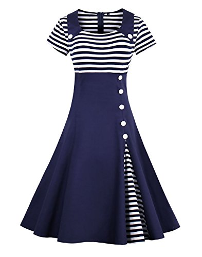 Sixshe Women's Vintage Pin Up Buttons Stripes Short Sleeve Sailor Costume A-line -