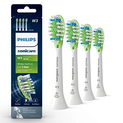 Genuine Philips Sonicare W3 Premium White toothbrush head, HX9064/65, 4 -pk, white