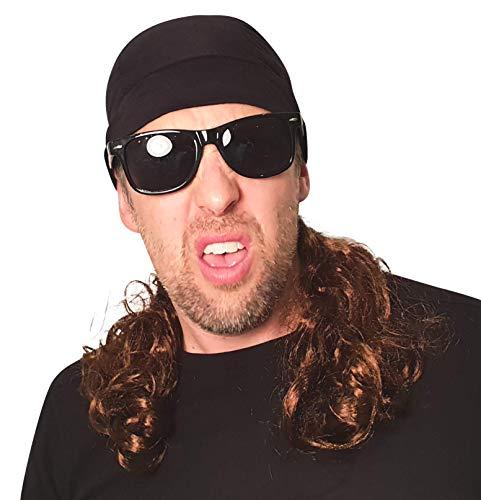 HandinHand Creations Mullet Headband Skull Cap Wrestler Wig with Black Biker Harley Sunglasses -