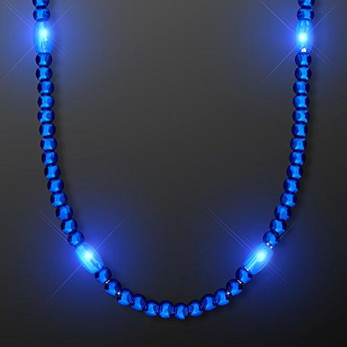 FlashingBlinkyLights Blue Light Up LED Mardi Gras Bead Necklaces (Set of 12) ()