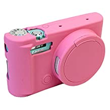 Removable Lens Cover Protective Silicone Gel Rubber Soft Camera Case Cover Bag For Casio ZR3500 Camera Pink