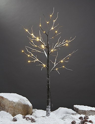 ow Dusted Tree, 48 LED Lights, Warm White, For Holiday Decorations (Brown Tree)