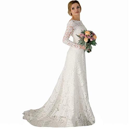 DingDingMail Romantic Lace Mermaid Wedding Dresses Long Sleeves Backless Vintage Wedding Dresses Bridal Dresses Ivory