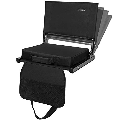 Sheenive Reclining Stadium Seats for Bleachers, Padded Cushion Stadium Chairs for Bleacher with Back Support and Shoulder Strap, 4 Reclining Positions, Detachable Seat for Multi Use, 1 Pack, Black