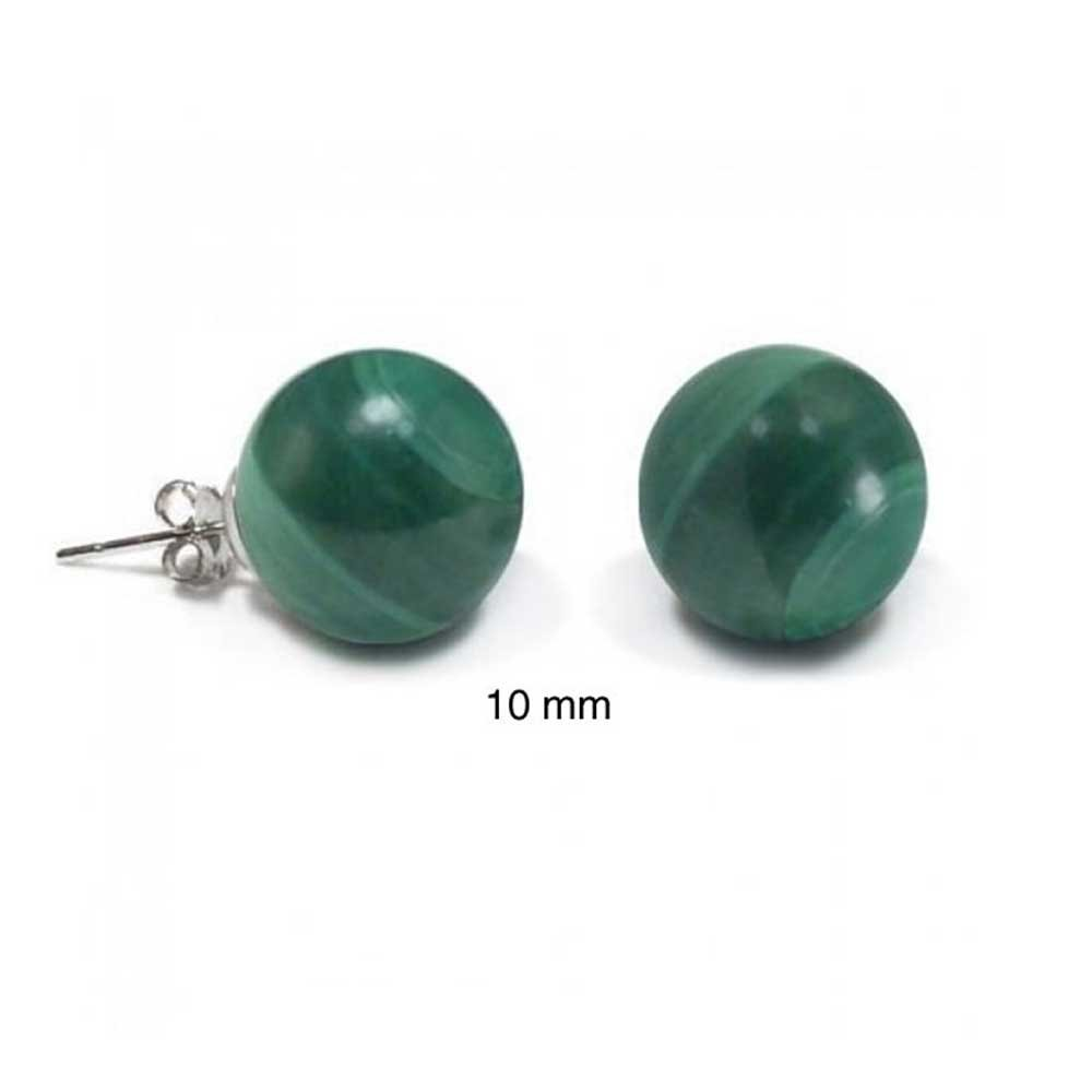 Bling Jewelry Silver Plated Malachite Ball Stud Earrings 10mm YP-MAL-STUD-10mm