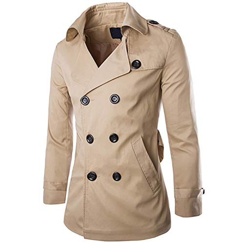 Men's Double Breasted Trenchcoat Notch Lapel Stylish Belted Windbreaker Slim Fit Short Coat (Khaki, X-Large)