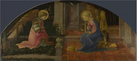 Oil Painting 'Fra Filippo Lippi - The Annunciation,about 1450-3' Printing On Perfect Effect Canvas , 8x18 Inch / 20x45 Cm ,the Best Kids Room Decor And Home Decoration And Gifts Is This Vivid Art Decorative Prints On Canvas 3' Trim Roller