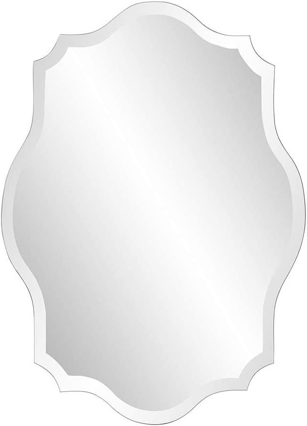 Howard Elliott Frameless Scalloped Hanging Wall Mirror, Oblong (24 x 32 x 3/8-Inch), Silver - Bathroom, Vanity, Bedroom