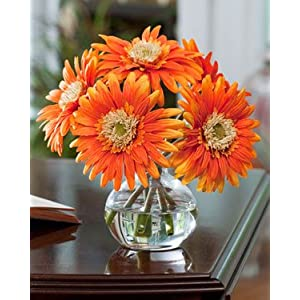Gerbera Silk Flower Arrangement - Orange 55