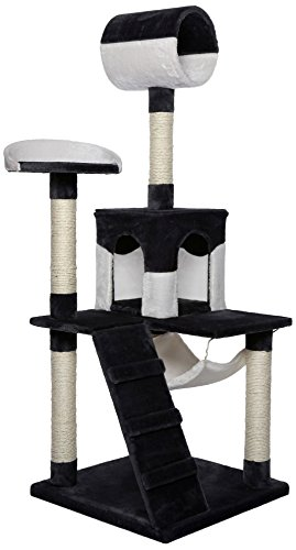 Dibea KB00357 Rascador para Gatos, 133 Cm, Árbol Escalador Arañar Juguete Negro y Blanco: Amazon.es: Productos para mascotas