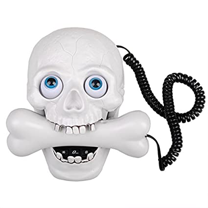 Halloween White Skull LED Eyes Designer Home Phone Telephone