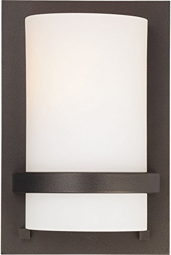 "Minka Lavery Wall Sconce Lighting 342-172 Glass 1 Light 100 watt (10""H x 6""W) Damp Bath Vanity Fixture, Iron"