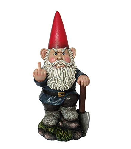 """DWK 8.75"""" You Dig? Grumpy Garden Gnome Digging with Shovel Flipping The Bird Middle Finger Collectible Statue for Indoor Outdoor Summer Home and Garden Decor"""