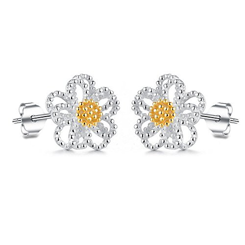 Nitlovely Cute Sunflower Daisy Ear Studs Earrings Women's Silver Plated Party Jewelry Gift