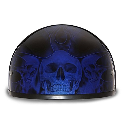 DOT Motorcycle Half Helmet With Blue Skull Flames (Size XS, X-Small)