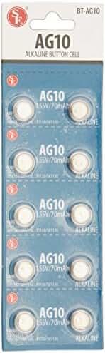 SE BT-AG10 AG10 Alkaline Button Cell Batteries(10 Piece)