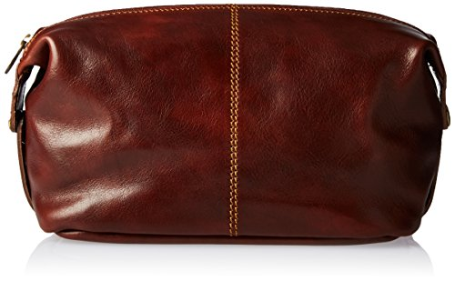 Alberto Bellucci Men's Italian Leather Toiletry Travel Dopp Kit Case, Brown by Alberto Bellucci