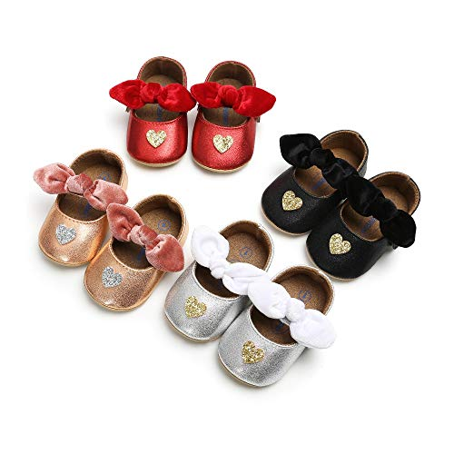 Bebila Rose Gold Baby Shoes Bow Babe Girls Mary Jane Flats Princess Dress Toddler Moccasins with Anti-Slip Rubber Sole