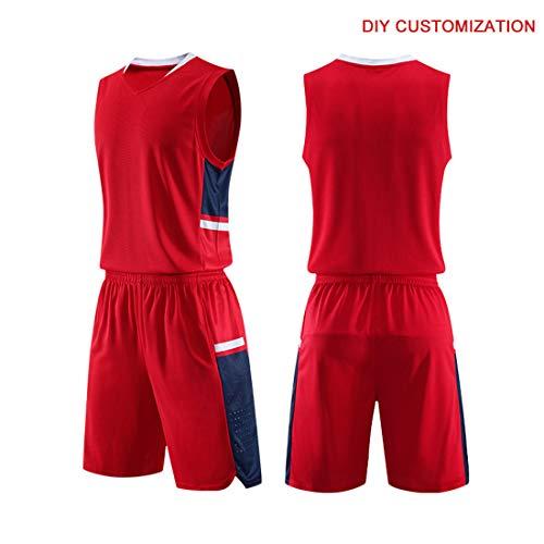 Basketball Jersey Sports Shirt Uniform Set for Adults Elite Training Presentation Suit,red,L