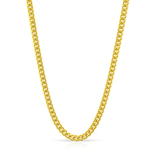 14k Yellow Gold 2.5mm Solid Miami Cuban Curb Link Necklace Chain 16