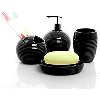 4 pc round black ceramic bath accessories set w soap dispenser toothbrush holder tumbler soap dish
