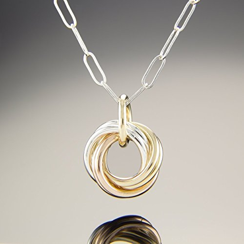 14k Gold Circle Pendant - Tri Color (Sterling Silver, Rose and Yellow 14K Gold Fill) Dainty Love Knot 20 Inch Pendant Necklace